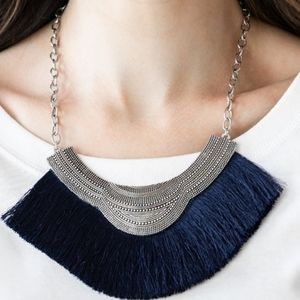 """My PHARAOH Lady"" - Navy Blue Fringe Necklace Set"